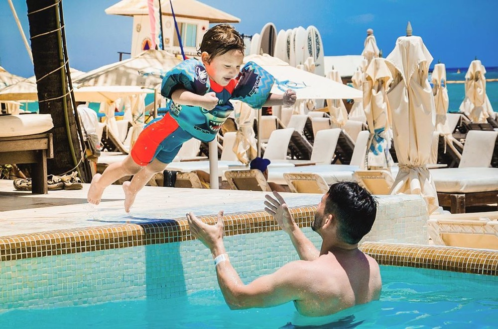 Rafa jumping to the pool