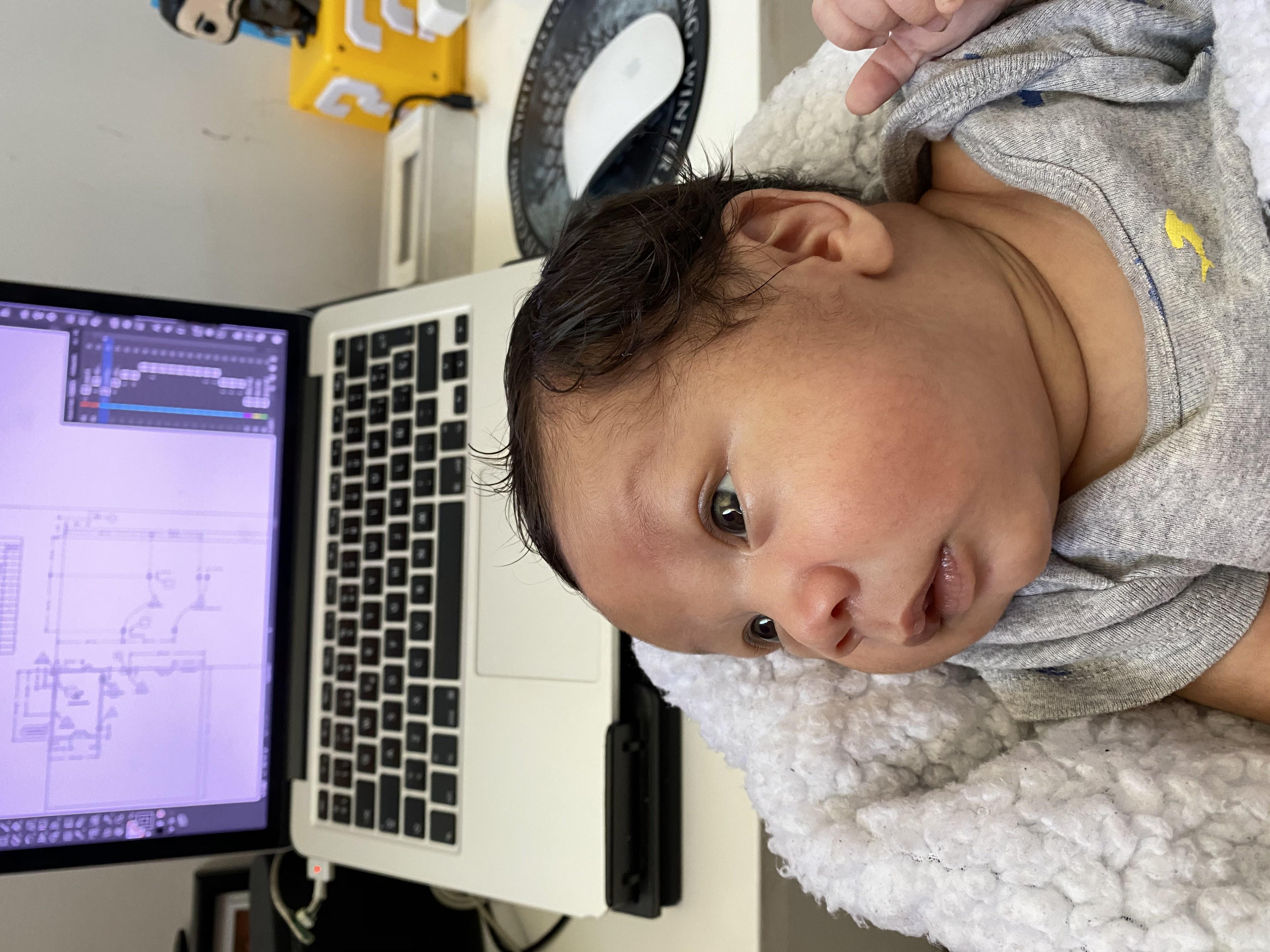Work break with my son